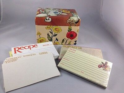 Vintage Stylecraft Recipe Box with Cards and Dividers Flowers and Kitchen Design
