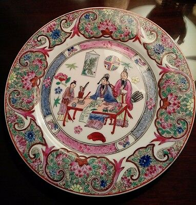 Vintage1950-60's Chinese Famille Rose porcelain plate made by Qianlong
