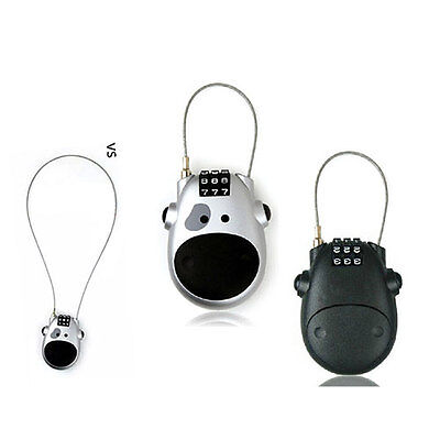 Retractable Bike Luggage Travel Padlock 3-Digit Combination Cable Code Cow Lock