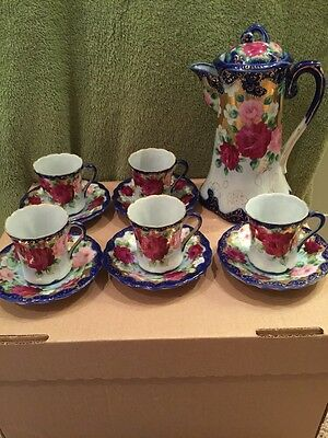 ***antique Hand Painted Hot Chocolate Pot W/5 Cups & Saucers - England***