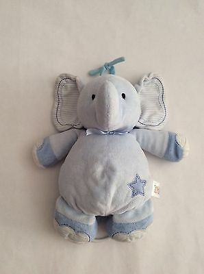 "CARTERS JUST ONE YEAR blue ELEPHANT MUSICAL CRIB PULL STRING 11"" Twinkle plush"