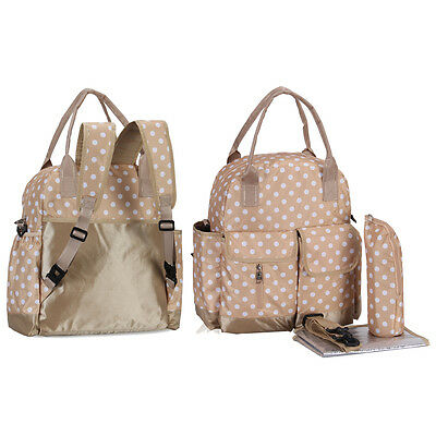 Convertible 3PCS Baby Diaper Changing Bag Nappy Backpack Mommy Tote Messenger