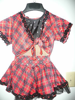 Red and black plaid competition dance costume..