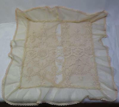 "Antique Vintage Net Lace Boudior Pillow Cover Case  15.5"" x 16"" - #1"