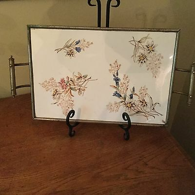 Antique Floral Transfer Ware Porcelain Serving Tray With Metal Frame
