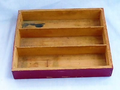 Vintage Wood Small Shelf or Red Paint Divided Utensil Silverware Drawer Tray