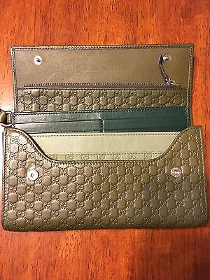 Authentic GUCCI Green leather Micro Guccissima Long Wallet/Wristlet  309651