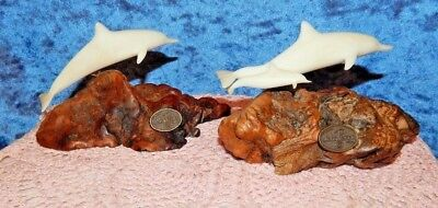 """JOHN PERRY SCULPTURE OF DOLPHIN BURL WOOD 6""""x4""""x3-1/4"""" SIGNED"""