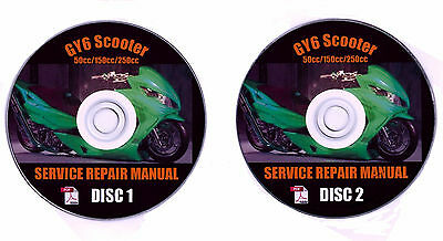 Vespa Piaggio Kymco Carter Yerf Dog Repair Shop Manual on 2-CD's + GY6 Scooter