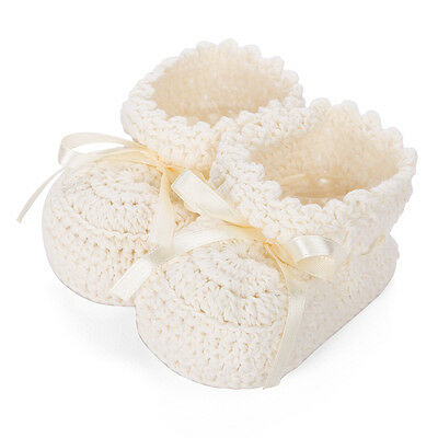 NEW D Lux Minnie Hand Crochet Cotton Booties Ivory