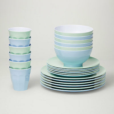 Barel Classic Frost 24 Piece Melamine Dinner Set - Tumblers, Plates, And Bowls