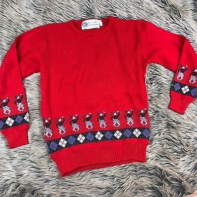 Scottish Clanwear Vintage Kids Sweater Highland Dance Red Acrylic Plaid 9/10