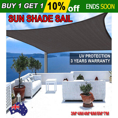 Shade Sail Rectangle Black Multi Sizes Super Strong 3X4M/ 4x6M/ 5X7M Sun Canopy