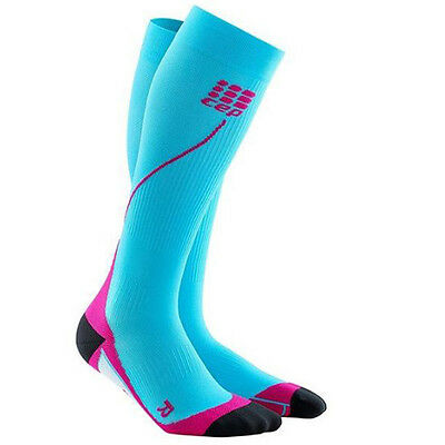 CEP Compression Women's Progressive+ Run Socks 2.0 Hawaii Blue/Pink