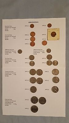 Coins of Australia, Mixed Lot of 45, Circulated, 1966 - 1978