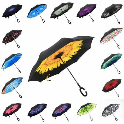New Flowers C-Handle Umbrella Windproof Reverse Double Layer Inside-Out Inverted
