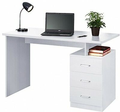 Fineboard Home Office Desk Computer Table Work Station With 3 Drawers, White