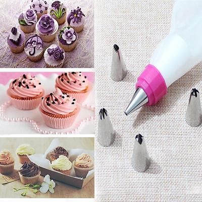 DIY Pastry Cake Decorating Tool Set 5 PCS Nozzles + 1 Pastry Bag +1 Coupler DB