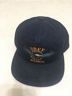 Men's Hat Baseball Cap Obey SnapBack Navy Blue Jean Material