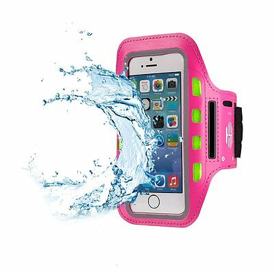 LED Reflective Running Belt Arm Band for Jogging Cycling w/ Pouch/Pocket PINK