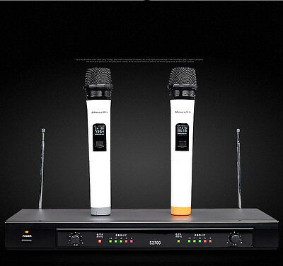 Professional UHF Dual WIRELESS CORDLESS MIC MICROPHONE SYSTEM