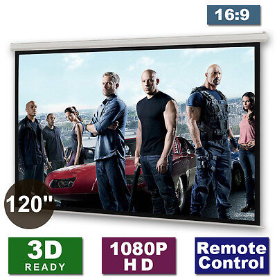 """120"""" Electric Motorised Projector Screen Remote Home Cinema Projection 16:9 PURE"""