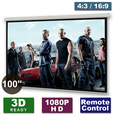 "New 100"" Cinema Motorised Projector Screen Remote Matte White HD DVD TV 4:3 16:9"