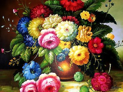 ��Hand Painted Floral Oil Painting on Canvas Colourful Flowers Vase Still Life��