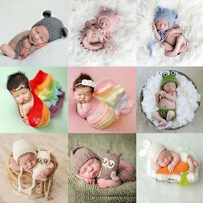 Newborn Baby Girl Boy Crochet Knit Clothes&Hats Photo Photography Prop Outfits