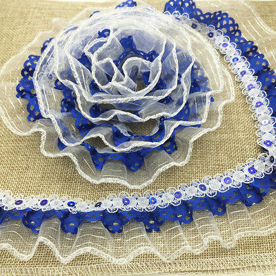 DIY New 5 yards Blue Lace organza Gathered Pleated sequined Trim 3-Layer AA