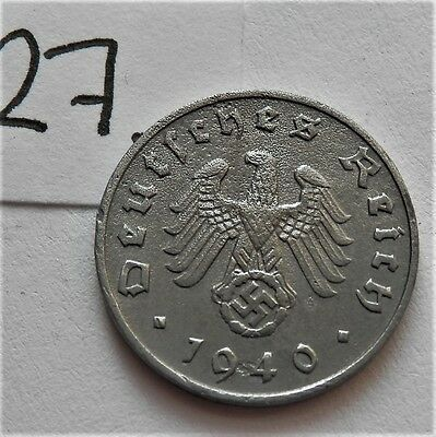 1940 Ww2 Third Reich Era Original German Coin 1 Reichspfennig *a* Good Grade