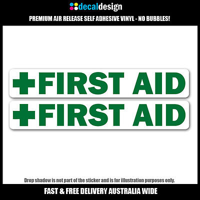 First Aid Decals x2 UV resistant OH&S boating car safety and medical stickers
