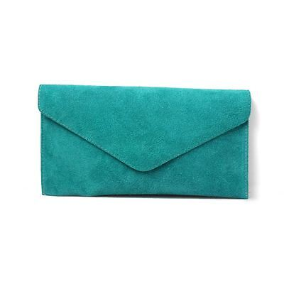 Women's Turquoise Suede Envelope Evening Clutch Bag