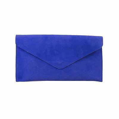 Ladies Cobalt Blue Suede Envelope Evening Clutch Bag