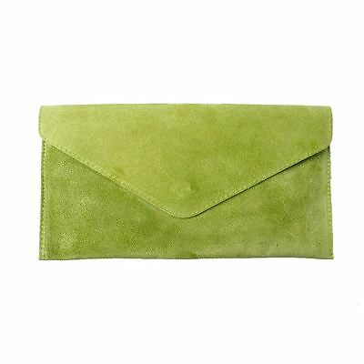 Women's Lime Suede Envelope Clutch Bag