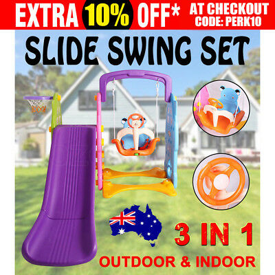 Kids Slide Swing Basketball Ring Set Activity Toddlers Outdoor Indoor Play Toys