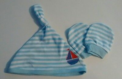 Baby scratch mittens and hat. Blue stripe