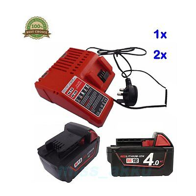 Milwaukee M18 Battery or Charger 48-59-1812 48-11-1828 M18B4 Li-ion 18V 3ah 4ah