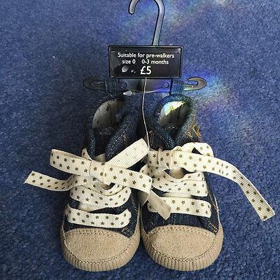 Bnwt Next Denim Pre-Walkers Girls First Shoes Age 0-3 Months