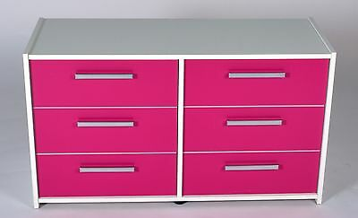 Shelby 3+3 Drawer Chest White With Pink Gloss Doors