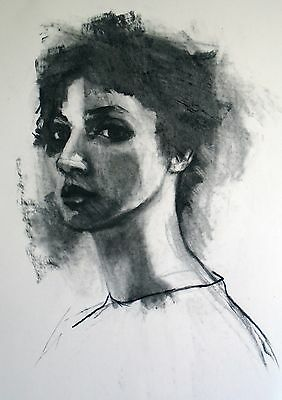 Original signed charcoal drawing 3/4 portrait A2