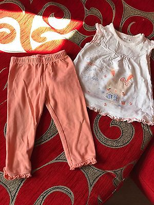Girls Nutmeg Summer Outfit Set T-shirt And Trouser 6/9months