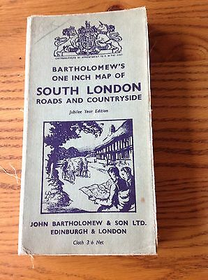 Bartholomew's One Inch Cloth Map Of South London - Jubilee Year Edition