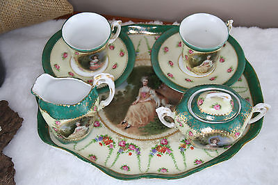 VTG Porcelain Tea set plate sugar bowl milk pot cups victorian dog decor cute