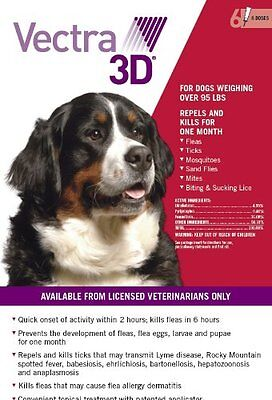 Vectra 3D for Large Dogs Over 95 lbs Spot On 6 Month Flea and Tick Treatment