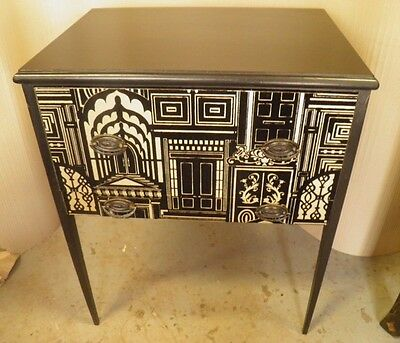 Stylish Antique Decorated Side / Sewing / Lamp Table