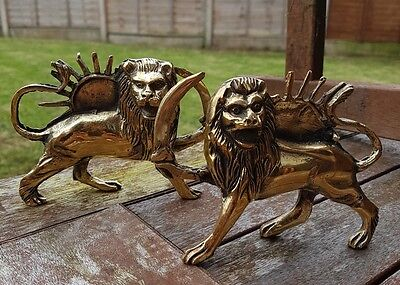 Pahlavi Lion and Sun brass 3d figurines Shir o Khorshid Persian Antique