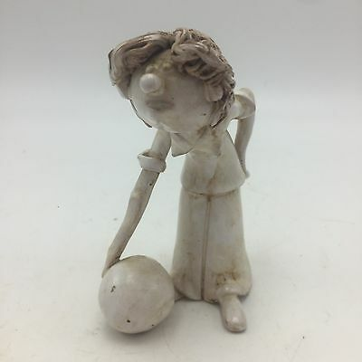 Dino Bencini Bowler Sculpture Figurine Signed Vintage Pottery Italy