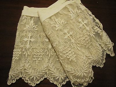 19th c. 2 PLUS YARDS IVORY EMBRODERY ON NET WIDE ANTIQUE LACE TRIM BEAUTIFUL EUC