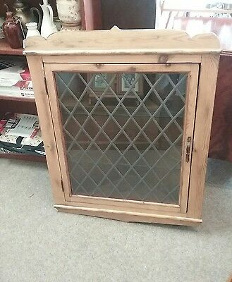 Rustic pine glazed wall hanging corner cupboard / display cabinet